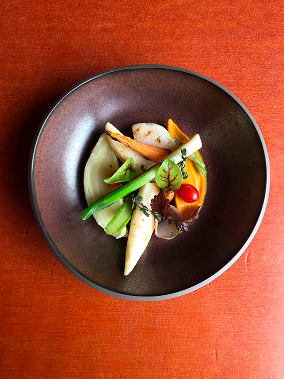 frisches Bio Gericht mit buntem Gemuese